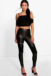 Boohoo Zip Knee Biker Leggings Black