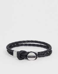 Emporio Armani Leather Logo Bracelet In Black