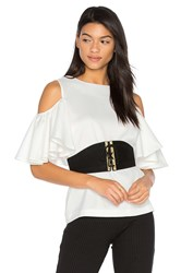 Blaque Label Cold Shoulder Top White