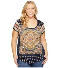 Lucky Brand Plus Size Persian Carpet Tee Navy Multi Women's T Shirt Blue