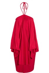Balenciaga Convertible Pleated Stretch Satin Halterneck Dress Red