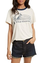 The Great Women's Great. Boxy Crew Tee Washed White W Nvy Ringer