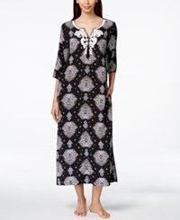 Charter Club Beaded Embroidered Medallion Print Long Caftan Only At Macy's Black Medallion