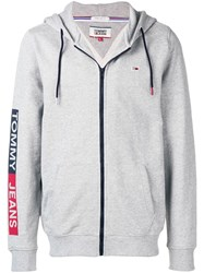 Tommy Jeans Logo Print Zipped Hoodie Grey