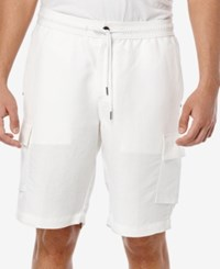 Cubavera Men's Drawstring Full Elastic Cargo Shorts Bright White