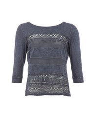 Garcia Cotton Embroidered Top Navy