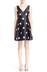 Women's Kate Spade New York V Neck Polka Dot Fit And Flare Dress