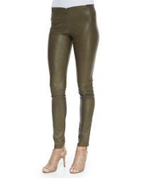 Alice Olivia Lamb Leather Front Zip Leggings Forest Green