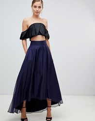 Coast Iridessa High Low Chiffon Skirt Navy