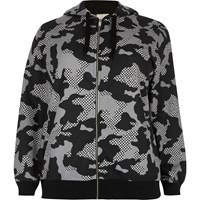 River Island Womens Plus Grey Camo Print Hoodie