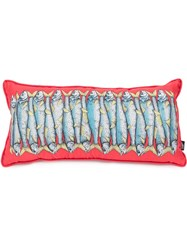 Fornasetti Sardine Print Pillow Red