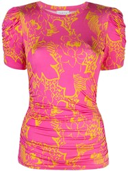 Tanya Taylor Chaia Ruched Top Pink