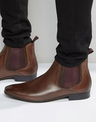 Asos Chelsea Boots In Brown Leather With Coloured Elastic Brown