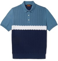 Tod's Colour Block Knitted Cotton Polo Shirt Blue