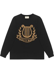 Gucci Oversized T Shirt With Lyre Pach Black
