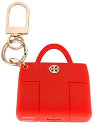 Tory Burch 'Tory' Charger Keyring Women Brass Silicone One Size Red