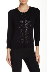 Cable And Gauge Scattered Sequins Cardigan Black