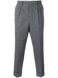 Ami Alexandre Mattiussi Pleated Carrot Fit Trousers Men Polyester Spandex Elastane Wool 38 Grey