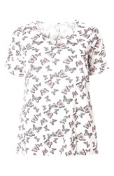 Evans Plus Size Women's Butterfly Print Top Ivory