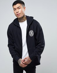 Brixton Pace Zip Through Hoodie With Small Logo Black
