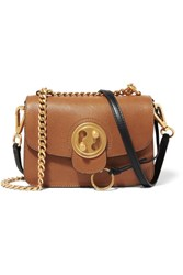 Chloe Mily Small Textured Leather And Suede Shoulder Bag Tan