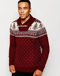 D Struct Johan Shawl Neck Christmas Jumper Red
