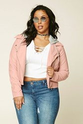 Forever 21 Plus Size Hooded Moto Jacket