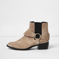 River Island Womens Nude Suede Western Strap Ankle Boots