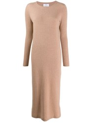 Allude Long Sleeved Knitted Dress Neutrals