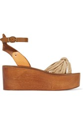 Etoile Isabel Marant Zia Paneled Woven Textured And Snake Effect Leather Wedge Sandals Taupe