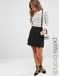 Asos Petite A Line Mini Skirt With Scallop Black