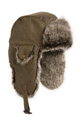 Crown Cap Waxed Cotton Aviator Hat With Faux Fur Lining Tan