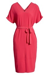 Bobeau Stretch Crepe Dress Bright Rose