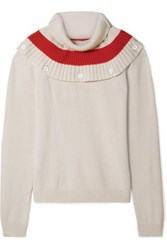 Tomas Maier Convertible Striped Cashmere Sweater Cream