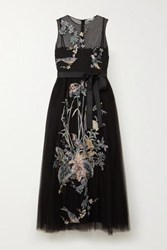 Red Valentino Redvalentino Embroidered Point D'esprit Tulle Midi Dress Black