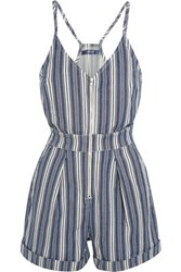 7 For All Mankind Striped Denim Playsuit Blue