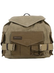 Dsquared2 Military Backpack Women Cotton Linen Flax Calf Leather One Size Green