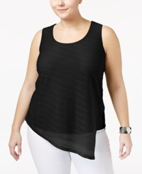Calvin Klein Plus Size Asymmetrical Striped Top Black