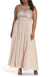 Eliza J Plus Size Women's Embellished Lace And Chiffon Gown Beige