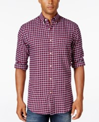 John Ashford Men's Big And Tall Long Sleeve Check Shirt Only At Macy's Ruby Red