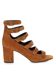 Saint Laurent Babies Block Heel Suede Sandals Tan