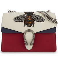 Gucci Dionysus Bee Leather Shoulder Bag White Navy Red