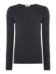 Selected Men's Homme Textured Knit Long Sleeve Cotton Jumper Dark Grey