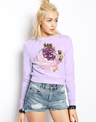 Asos Cropped Sweatshirt With Embroidered Flower Lilac