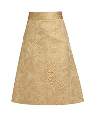 Red Valentino A Line Brocade Skirt Gold