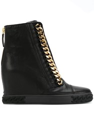 Casadei Chain Trimmed Wedge Sneakers Calf Leather Nappa Leather Rubber 38.5 Black