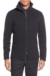 Men's Zachary Prell 'Goldhawk' Merino Wool And Cashmere Zip Sweater Charcoal Solid