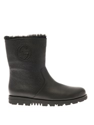 Gucci Meguro Fur Lined Leather Ankle Boots