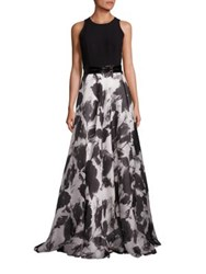 Carmen Marc Valvo Beaded Belt Floral Silk Blend Gown Ivory Black
