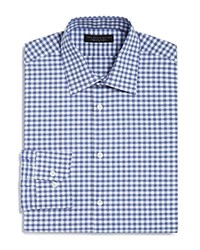 Bloomingdale's The Men's Store At Gingham Dobby Regular Fit Dress Shirt 100 Exclusive Blue